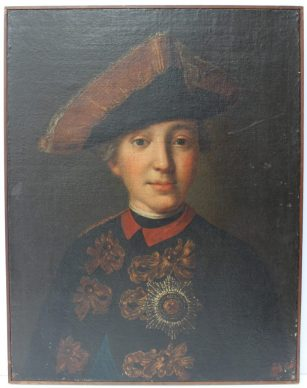 18th century Russian School - Head and shoulders portrait of Emperor Peter III, Great Prince Pyotr Fyodorovich. A young portrait in a tricorn hat wearing the imperial Order of St Anne Oil on canvas 55.5 x 43cm. Sold for £12,500 at Anthemion Auctions