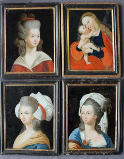 A set of three 19th century reverse paintings on glass depicting head and shoulders portraits of maidens, 24.5 x 19cm together with another depicting a religious subject matter, 23 x 17cm. Sold for £1,250 at Anthemion Auctions