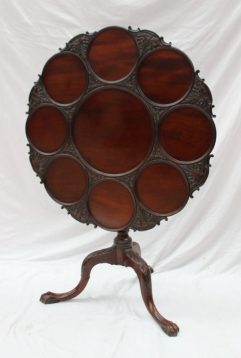 A George III mahogany tripod table, the circular top with separate plate wells on a turned and carved base, 82cm diameter. Sold for £1,000 at Anthemion Auctions