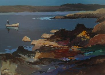 onald McIntyre (1923-2009) - Sunlit Rocks and boat, Oil on board. Initialled Label verso 29 x 39 cm. Sold for £1,400 at Anthemion Auctions