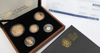 A Royal Mint 2009 UK Gold Proof Sovereign Five-Coin Collection, No.0352 / 1750 comprising a Five pounds, Double Sovereign, Sovereign, Half Sovereign and Quarter Sovereign in original case and sleeve with certificate of authenticity. A Royal Mint 2009 UK Gold Proof Sovereign Five-Coin Collection, No.0352 / 1750 comprising a Five pounds, Double Sovereign, Sovereign, Half Sovereign and Quarter Sovereign in original case and sleeve with certificate of authenticity