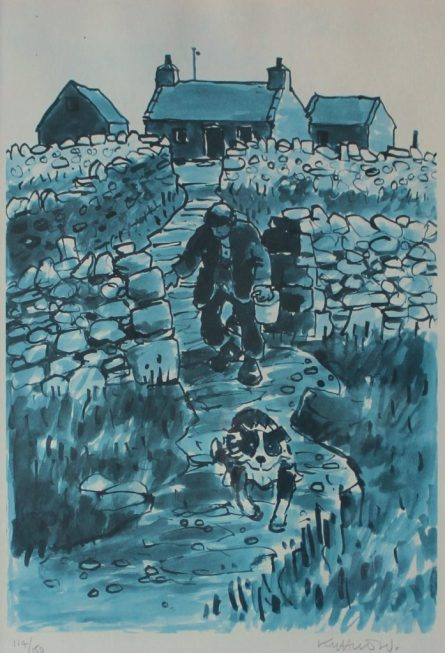 Kyffin Williams - A farmer and sheepdog on a path, A limited edition print. Sold for £170 at Anthemion Auctions