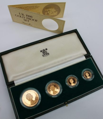 A Royal Mint UK 1980 gold proof set comprising a Five Pounds, Two Pounds, Sovereign and Half Sovereign in original case. Sold for £1,400 at Anthemion Auctions