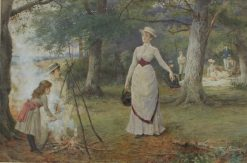 George Goodwin Kilburne R.I. R.O.I., RMS (1839-1924) - The Family Picnic, Watercolour. Signed, 34 x 50cm. Sold for £850 at Anthemion Auctions