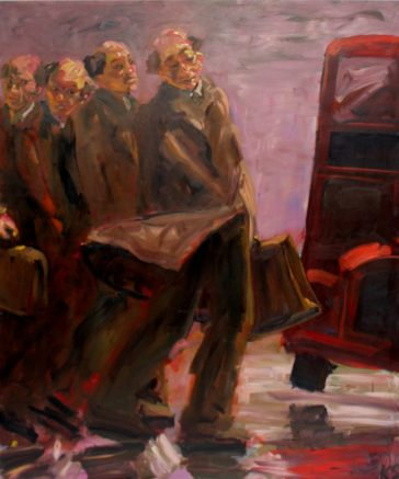 Kevin Sinnott - Home Time for the Historians. Oil on canvas. Initialled Bernard Jacobson Gallery labels verso dated 1989 173 x 144cm. Sold for £1,350 at Anthemion Auctions