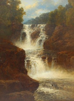 J B Smith - Waterfall on the Dulas , South Wales, Oil on canvas. Signed and dated 1873 44 x 34cm. Sold for £1,050 at Anthemion Auctions