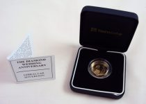 A 22ct gold Gibraltar one pound coin, produced for the Diamond Wedding Anniversary, by Westminster, 7.98 grams Sold for £210 at Anthemion Auctions