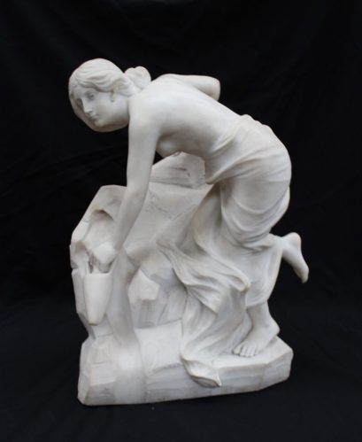 Pietro Balzanti - A semi nude figure filling a twin handled vase from a well. Marble, Signed P Bazzanti, Firenze to the reverse 33 x 48cm. Sold for £850 at Anthemion Auctions