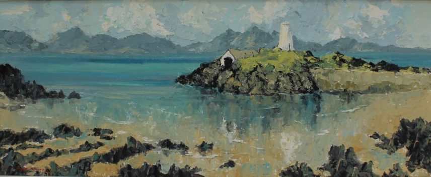 Charles Wyatt Warren - Seascape with an island, Oil on board. Signed 36 x 89cm. Sold for £800 at Anthemion Auctions