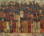 Jack Jones - Houses in rows, Oil on canvas. Signed and dated '59 33 x 41cm. Sold for £700 at Anthemion Auctions