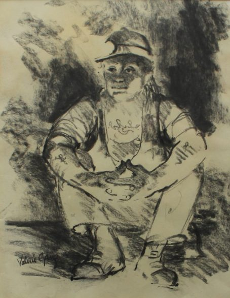 Valerie Ganz - Seated Miner, Watercolour. Signed, Attic Gallery label verso 29 x 23cm. Sold for £700 at Anthemion Auctions