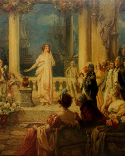 Frank Moss Bennett - A maiden performing before noblemen and women with Naval vessels in the background Believed to be Lord Nelson meeting Lady Hamilton in Italy Oil on canvas Signed F M Bennett and dated 1940 Harrods Picture department label verso 102 x 83.5cm. Sold for £4,200 at Anthemion Auctions