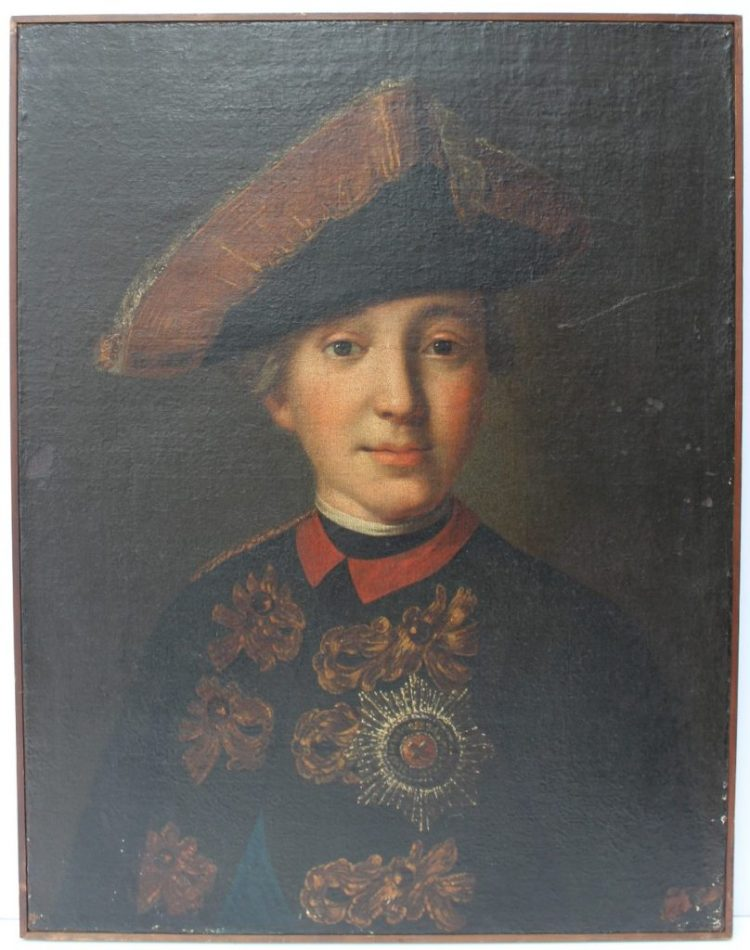 18th century Russian School - Head and shoulders portrait of Emperor Peter III Great Prince Pyotr Fyodorovich, A young portrait in a tricorn hat wearing the imperial Order of St Anne. Oil on canvas 55.5 x 43cm. Sold for £12,500 at Anthemion Auctions
