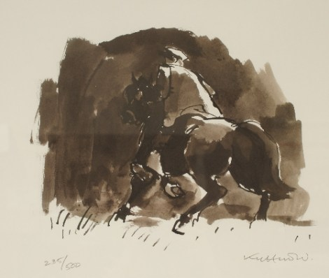 After Kyffin Williams A Horseman A signed limited edition print no 235/500. Sold for £200 at Anthemion Auctions