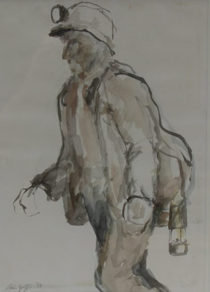 Chris Griffin - Study of a miner 1 (days), Watercolour. Signed and dated '73 Label verso 27 x 20cm. Sold for £90 at Anthemion Auctions