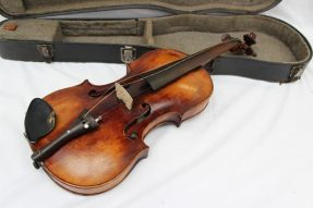 """A German violin with a one piece back, ebonised stringing, bears a label """"Francisco Ruggeri"""". Sold for 170 at Anthemion Auctions"""