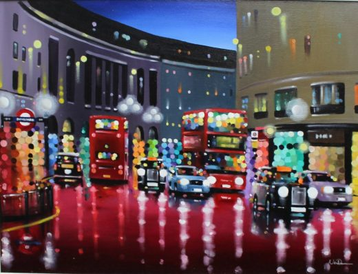 Neil Dawson - Urban nights, Oil on canvas. Signed 59 x 78.5cm. Sold for £290 at Anthemion Auctions
