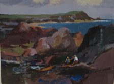 Donald McIntyre - Rocky shore and headland No.2, Oil acrylics. Sold for £2000 at Anthemion Auctions