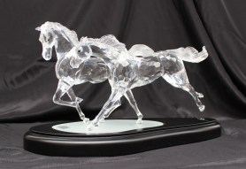 """A Swarovski crystal figure group titled """"The Wild Horses"""" limited edition no. 05942/10000, in original fitted box with plinth, framed and glazed certificate, gloves, polishing cloth etc. Sold for £1,500 at Anthemion Auctions"""