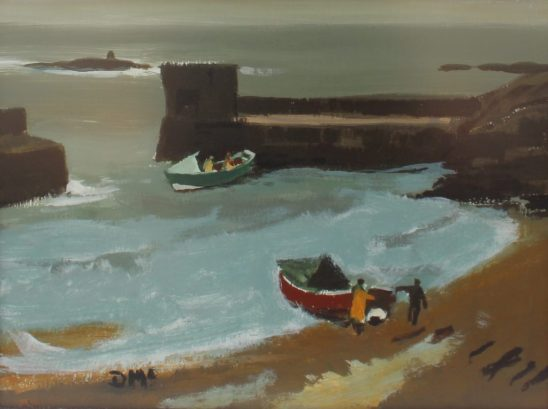Donald McIntyre (1923-2009) - Two Cobles Craster, Oil on board. Initialled and inscribed verso 29 x 39cm. Sold for £1,700 at Anthemion Auctions