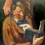 Kevin Sinnott - Great Book II, Oil on canvas. Initialled, Bernard Jacobson Gallery labels verso dated 1988 150 x 115.5cm. Sold for £1,100 at Anthemion Auctions