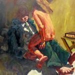 """Kevin Sinnott - """"Is love sex a joke"""", Oil on canvas. Initialled, Bernard Jacobson Gallery labels verso dated 1985 169 x 153.5cm. Sold for £1,000 at Anthemion Auctions"""