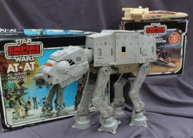 Star Wars - a 1980 model of an AT-AT all terrain armoured transport figure from The Empire Strikes back, together with a 'battle damaged' X-Wing fighter, by Palitoy, boxed. Sold for £70 at Anthemion Auctions