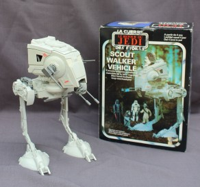 Star Wars - Return of the Jedi made by Palitoy in 1983, three models including a Rebel Transport, B-Wing Fighter and Scout Walker Vehicle, all boxed.Sold for £120 at Anthemion Auctions