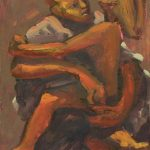 Kevin Sinnott - Couple Entangled, Oil on board. Bernard Jacobson Gallery and Koplin Gallery labels verso dated 1986 34 x 26.5cm. Sold for £560 at Anthemion Auctions