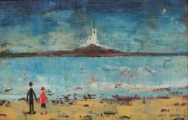 "Jack Jones - A beach scene with a lighthouse in the distance, Oil on board. Signed and dated '91 Inscribed verso ""With love from Jack, London, 23/7/91 17 x 26.5cm. Sold for £1,700 at Anthemion Auctions"