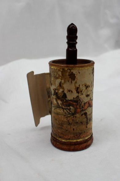 A late 18th/ early 19th century printed frieze depicting horse racing and horse related images wound inside a paper covered treen cylinder, later hand coloured, overall height 11cm high. Sold for £150 at Anthemion Auctions