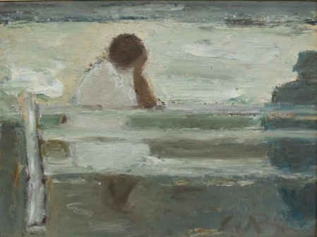 Will Roberts - Seat by the Sea I, Oil on board. Initialled and inscribed verso 29 x 39cm. Sold for £1,800 at Anthemion Auctions