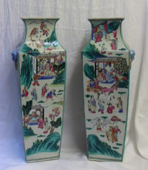 A pair of 19th century Chinese porcelain vase, of square tapering form, decorated with figures in interiors and landscapes, 57cm high. Sold for £1,550 at Anthemion Auctions