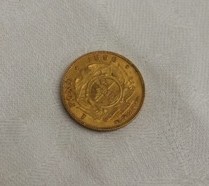 A late 19th century South African 1 Pond gold coin dated 1898. Sold for £240 at Anthemion Auctions