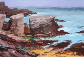Donald McIntyre - Rocky shore Anglesy No.1, Oil on board, Signed and label verso. Sold for £3,800 at Anthemion Auctions