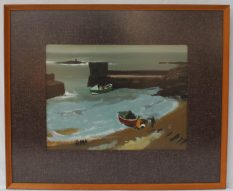 Donald McIntyre - Sunlit rocks and Boat, Oil on board, 29 x 39cm . Sold for £1,400 at Anthemion Auctions