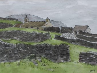 Sir Kyffin Williams, Penrhiwan, Watercolour, Initialled sold for £1,800 by Anthemion Auctions