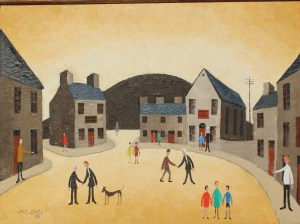 Jack Jones - A street scene with figures and a dog on the pavement and road, Oil on board. Signed and dated '88 29 x 40cm. Sold for £9,800 at Anthemion Auctions