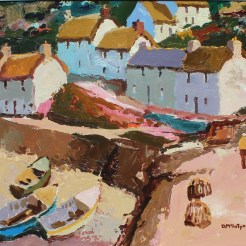 Donald McIntyre - Above the Harbour, Oil on board. Signed and label verso 50 x 60cm. Sold for £7,800 at Anthemion Auctions