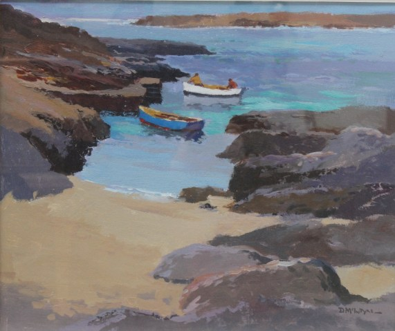 """Donald McIntyre - """"Fishing boat and Jetty"""", Acrylics. 50 x 60cm Signed and labels verso, Albany Gallery label verso. Sold for £2,800 at Anthemion Auctions"""