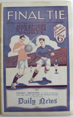 Arsenal V Cardiff City, 23 April 1927, half title page cut away. Sold for £300 at Anthemion Auctions