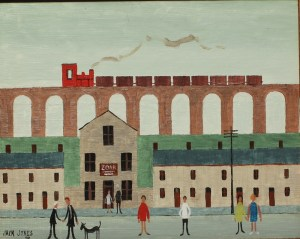 """Jack Jones - A Viaduct with a train above a village street, Oil on board. Signed and dated '91 19 x 24.5cm Inscribed verso """"with love from Jack, London, 23/7/91. Sold for £5,200 at Anthemion Auctions"""
