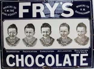 "'FRYS CHOCOLATE' 'FIVE BOYS' Enamel advertising sign, white lettering on blue background bearing inscription DESPERATION, PACIFICATION, EXPECTATION, ACCLAMATION, REALIZATION, ""ITS FRYS"", MAKERS TO T.M THE KING & QUEEN, MAKERS TO H.M. QUEEN ALEXANDRA 56cm x 75.5cm. Sold for £2,900 at Anthemion Auctions"