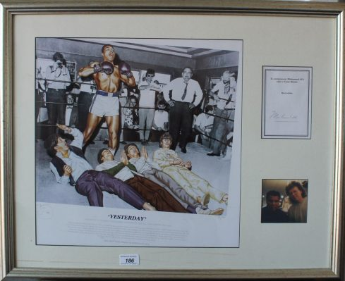 "A montage for Muhammad Ali titled ""Yesterday"", signed, framed and glazed. Sold for £260 at Anthemion Auctions"