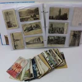 Circa 500 postcards in an album and loose including comic cards, portrait cards, a card for New Zealand Rugby Football Team, scenic cards including Eastbourne, Symonds Yat, Newport, Portishead, London, Chepstow, Raglan, Cardiff etc. Sold for £250 at Anthemion Auctions