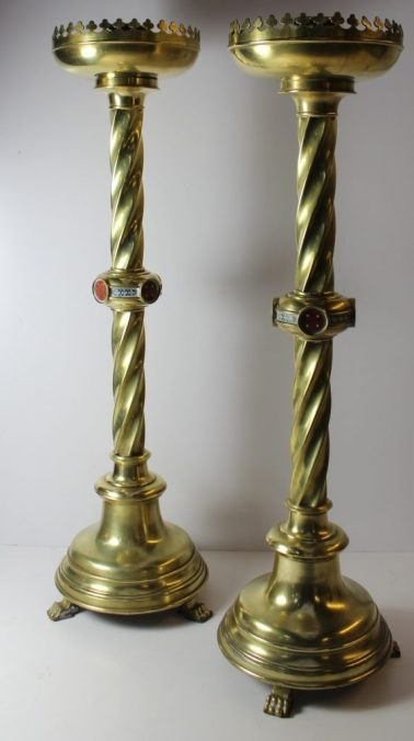 A pair of Gothic Brass candlesticks designed by Pugin for John Hardman 67cm high. Sold for £700 at Anthemion Auctions
