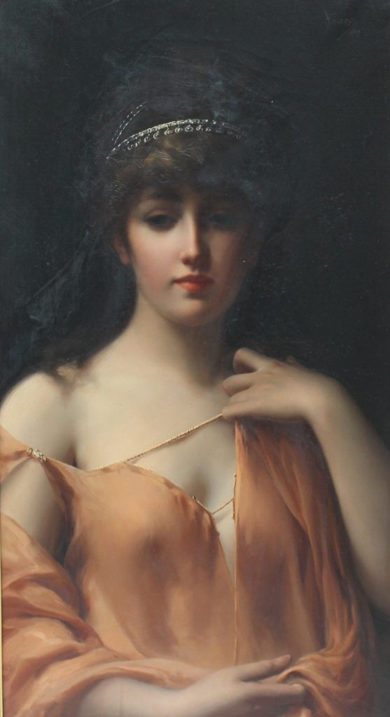 Attributed to Luis Falero - Head and shoulders portrait of a lady, Oil on canvas. Signed and dated '89 75 x 40cm. Sold for £6,800 at Anthemion Auctions