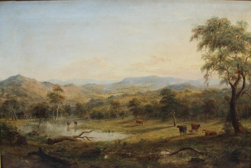Henry Gritten (1818-1873) - A Landscape scene with cattle watering, Oil on canvas. Signed and dated 1868 40 x 60cm. Sold for £3,200 at Anthemion Auctions