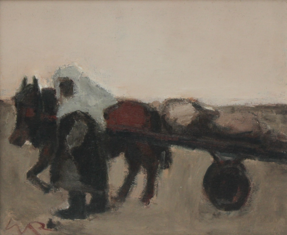 "Will Roberts - ""One Little Cockle Cart"", Oil on canvas. Initialled 23.5 x 29cm Canvas inscribed and dated 1979 verso, also bears an Oriel Mostyn gallery label, for a Will Roberts exhibition held in 1993. Sold for £1,150 at Anthemion Auctions"