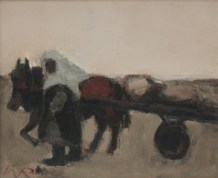 """Will Roberts - """"One Little Cockle Cart"""", Oil on canvas. Initialled 23.5 x 29cm Canvas inscribed and dated 1979 verso, also bears an Oriel Mostyn gallery label, for a Will Roberts exhibition held in 1993. Sold for £1,150 at Anthemion Auctions"""